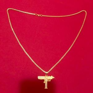Other - Gold plated cube chain with Uzi Pendant.